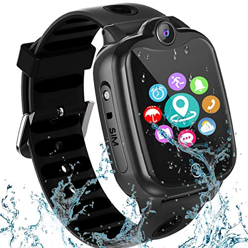 [IP67 Waterproof] Smart Watch for Kids, GPS Tracker Watch with SOS Alarm Clock Game Touch Screen Digital Wrist…