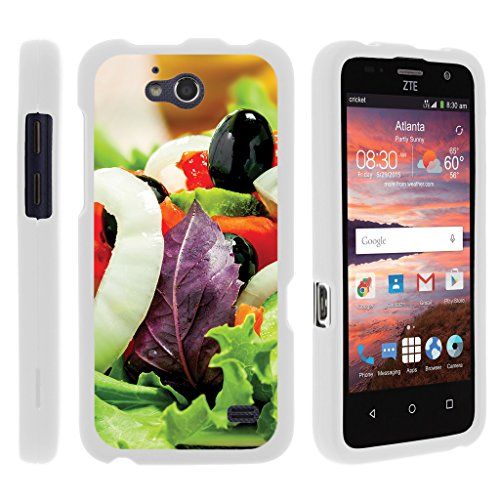 ible for ZTE Overture 2 Case | ZTE Atrium | ZTE Scend [Slim Duo] Hard Lightweight PC Plastic Rubberized 2 Piece Cover Shell on White Food Image Set - Fresh Salad ()