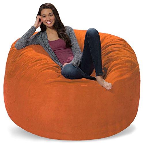 Comfy Sacks 5 ft Memory Foam Bean Bag Chair, Tangerine Micro Suede