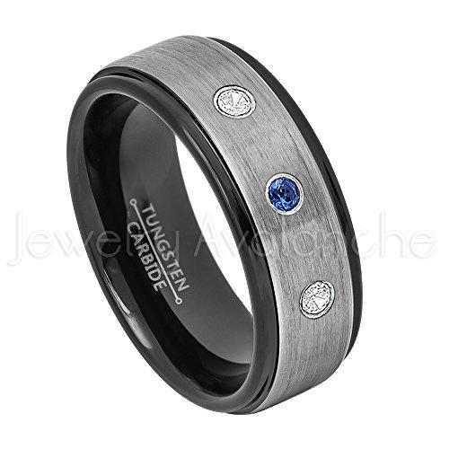 0.21ctw Blue Sapphire & Diamond 3-Stone Anniversary Band - September Birthstone Ring - 8mm Brushed Finish Black IP Comfort Fit 2-toneTungsten Carbide Ring Tungsten Wedding Ring-8