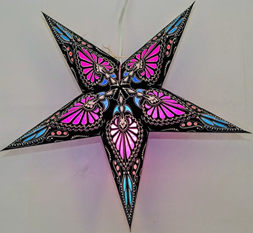 Hummingbird Paper Star Lantern (Pink on Black) by UMTA ()