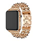 Juzzhou Watch Band For Apple Watch iWatch Series 1/2/3 Sport Replacement Stainless Steel Wriststrap Bracelet Watchband Wristband Wrist Strap With Metal Adapter Clasp For Women Lady Rose Gold 42mm