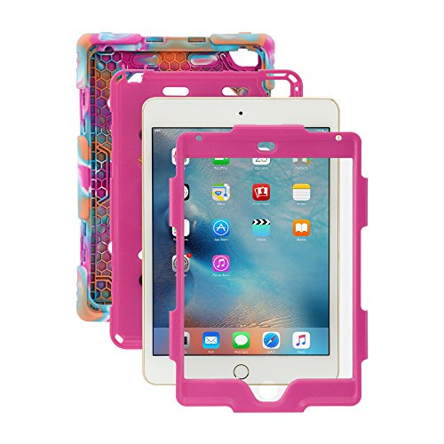 iPad Mini 4 Case, for Kids ACEGUARDER [Shockproof] [Heavy Duty] [Impact Resistant] Full Protection Cover with Kickstand & Screen Protector for Apple iPad Mini 4 2015 (4th Generation)- Pink Camo/Rose