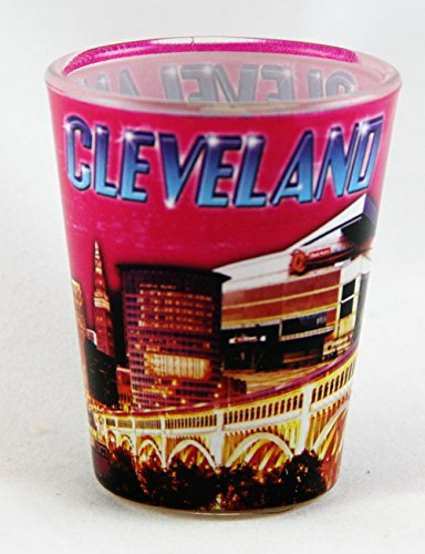 Cleveland Ohio Pink Photo Collage Shot Glass clevelandpink
