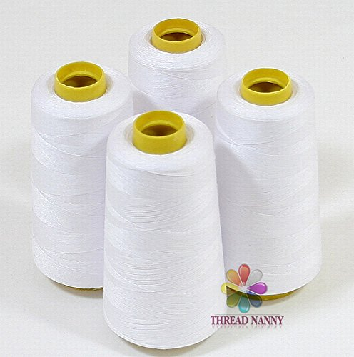 ThreadNanny 4_White_3k 4 Cones of Polyester Threads for Sewing Quilting Serger, White, 3000 yd, Large by ThreadNanny