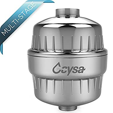 Geysa High Output Universal Shower Filter with Replaceable Multi-Stage Filter Cartridge, Removes Chlorine, Free Teflon Tape & Shower Hair Stopper, 1 Extra Filter Cartridge FREE - Chrome