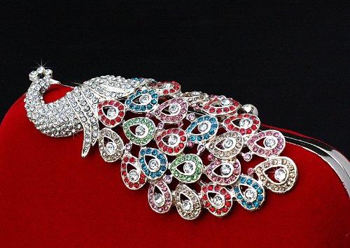 Paon Diamant a Pochettes Portefeuille Pochette de de Main Soiree Sac Soir de Cristal gwZUq