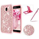 Rose Gold Shockproof Case for Samsung Galaxy J7 2018,Herzzer Stylish 3 in 1 Glitter Heavy Duty Drop Proof Tough Rugged Impact Defender Full Body Case