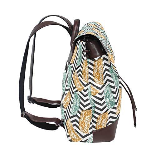 Handmålad påfågelfjäder mönster samling ryggsäck handväska mode PU-läder ryggsäck ledig ryggsäck för kvinnor