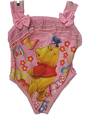 Little Girls Pink Winnie The Pooh Print One Pc Swimsuit 18 M