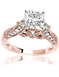 1.88 CTW Trillian And Round Diamond Engagment Ring w/ 1 Ct GIA Certified Cushion Cut I Color VS2 Clarity Center