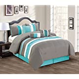 Modern 7 Piece Bedding Teal Blue / Grey / White Pin Tuck / Ruffle QUEEN Comforter Set with accent pillows