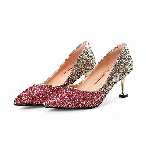 Charm Foot Womens Multicolor High Heel Sequins Pumps Shoes Red(mid Heel) dt3hwgV