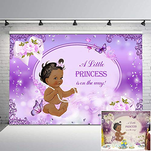 Mehofoto Purple Butterfly Baby Shower Backdrop Lavender Flower Giltter Diamonds Photo Background 7x5ft Ethnic Little Princess Photography Backdrops for Baby Shower Decorations -