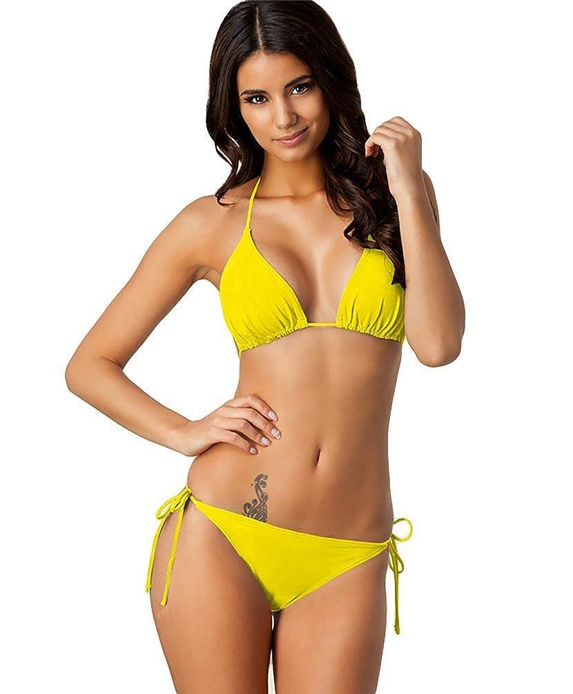 Baymate Damen Padded Bikini Set Neckholder Badeanzug Triangle Bademode