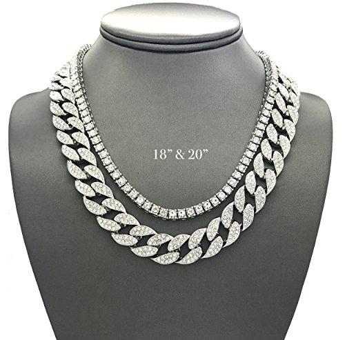 "Shiny Jewelers USA Mens Iced Out Hip Hop Silver tone CZ Miami Cuban Link Chain Choker Necklace (1 Row CZ & CZ Cuban 18""+20"")"