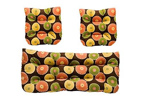 - 3 Piece Wicker Cushion Set - Indoor / Outdoor Wicker Loveseat Settee & 2 Matching Chair Cushions - Brown Floral Sunburst
