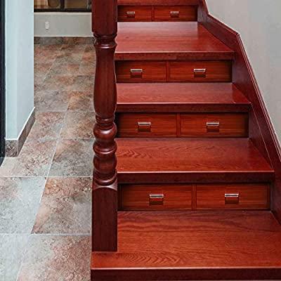 OYBB Pegatinas de Escalera Murales Escalera Moda Pasos creativos Pegatinas de Pared Decorativos 18 * 100 cm * 6 unids Simulación Cajones de Madera: Amazon.es: Hogar