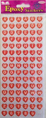 (Alphabet Hearts Epoxy Scrapbook Stickers)