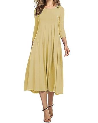 bfe3f26af73c AUDATE Summer Dresses for Women 3 4 Sleeve A-Line Swing Splice Long Dress