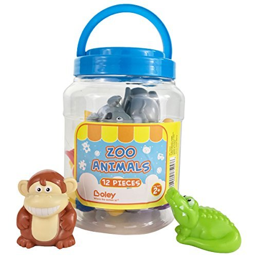 Boley 12-Piece Toddler Zoo Animal Bucket with Zoo, Jungle, and Safari Animal - Featuring Toy Lions, Elephants, Koalas and More - Perfect Educational Party Gift and Bath Toy for Kids, Boys and Girls! ()