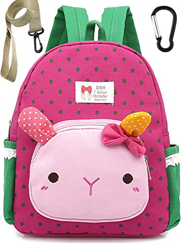 Cotton Toddler Kids Backpack Small School Bags Cat for Girls (Pink) Under 3 Year