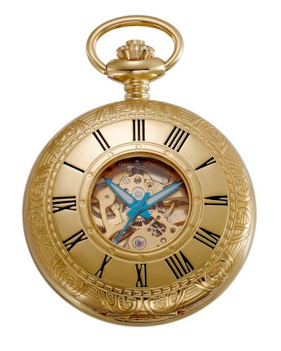 Gotham Men's Gold-Tone 17 Jewel Mechanical Covered Pocket Watch # - Watch Pocket Jewels 15
