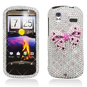 3D Full Diamond Bling Hard Shell Case for HTC Amaze 4G [T-Mobile] (Pink Bow Tie - 3D)