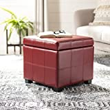 Safavieh Hudson Collection NoHo Tufted Red Leather Square Storage Ottoman