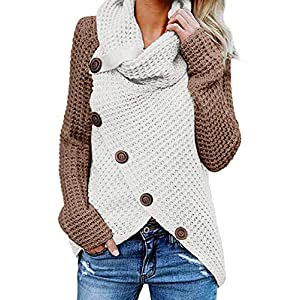 Actloe 2020 Women Cowl Neck Long Sleeve Asymmetrical Hem Sweaters Front Wrap with Button Pullover Jumper