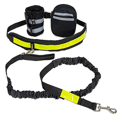 Multi Tasking Hands Free Dog Leash   Walking   Hiking   Running   Jogging   Retractable Shock Absorbing Design   Pet Bungee Leash With Pouch   Bag Holder   Adjustable Waist Belt   Reflective Stripe