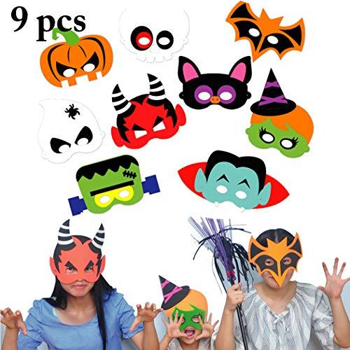 FunPa 9 Sets Costume Mask for Kids Halloween Mask Creative DIY Cartoon EVA Party Mask -