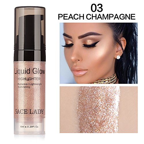 SACE LADY Face Highlighter Cream Liquid Illuminator Makeup Shimmer Glow Kit Make Up Facial Brighten Shine Brand Cosmetic (peach champagne)