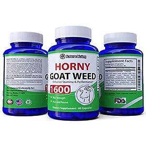 Premium Herbal Blend Horny Goat Weed Extract with Maca & Tribulus Terrestris, L Arginine, Natural Energy Boost Complex for Men & Women, 1600mg Epimedium with Icariins, 60 Veggie Capsules