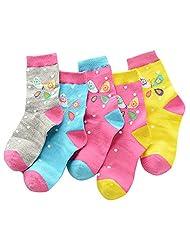 Feoya Kids Girl Cotton Cute Butterfly No Seam Socks Children 5 Pack Gift Socks