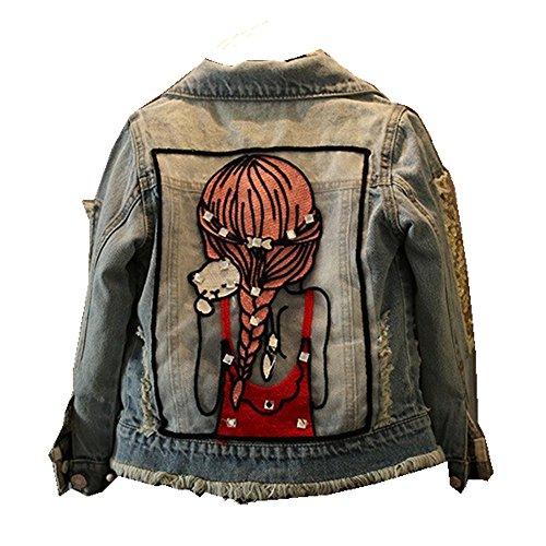 Star Flower Little Big Girls Denim Jackets Coats Outwear (4, Blue)