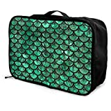 Sea Grass Of Mermaid Mackerel Travel Pouch Carry-on Duffle Bag Lightweight Waterproof Portable Luggage Bag Attach To Suitcase