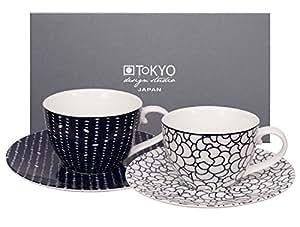 Tazas de café (170 ml) y platitos (2 de cada), colección Le Bleu De Nîmes de Tokyo Design Studio