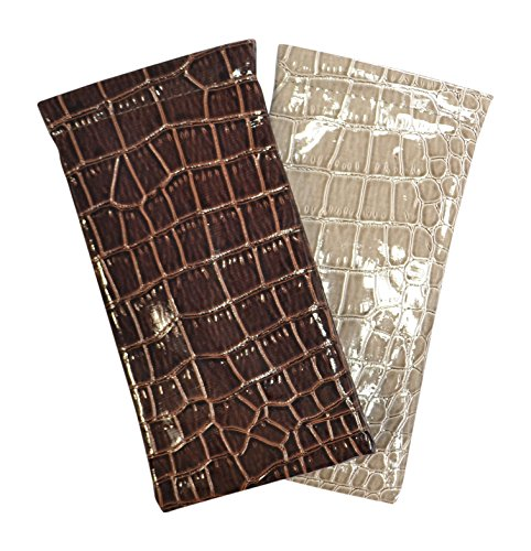 2 Pack Assorted Patent Leather Eyeglass Case Spring Top Faux Croco Brown Beige