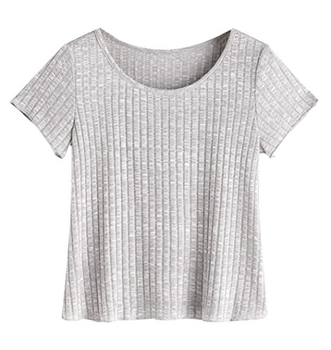 SheIn Womens Casual Basic Crew Neck Short Sleeve Ribbed Knit Tee