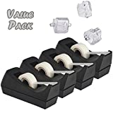 Desktop Tape Dispenser, 4-Pack, Non-Skid Base - with 3 Extra Tape Dispenser Replacement Core, Perfect for Office, Home, School - Value Pack