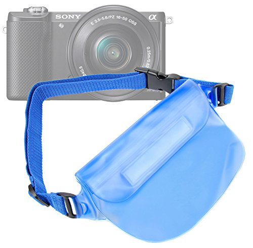 """DURAGADGET Blue """"Travel"""" Holiday Waterproof Window Dry Case with Adjustable Waist Strap - Compatible with Nikon 1 V3, Nikon Coolpix AW120, Coolpix S810C & Sony A5100 Compact Cameras"""