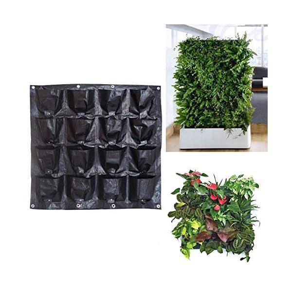 Borsa per piante Black Wall colore pensili Piantare Borse 16 tasche coltiva il sacchetto Planter verticale Orto Living… 2 spesavip