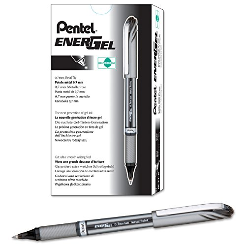 Pentel EnerGel NV Liquid Gel Pen, 0.7mm, Medium Line Capped, Metal Tip, Black Ink, Box of 12 (BL27-A)