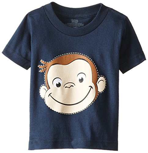 Curious George Little Boys' Toddler Short Sleeve T-Shirt, Navy, 3T