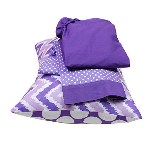 Bacati Mix and Match Zigzag/Dots 3 Piece Toddler Bed Sheet Set, Purple by Bacati