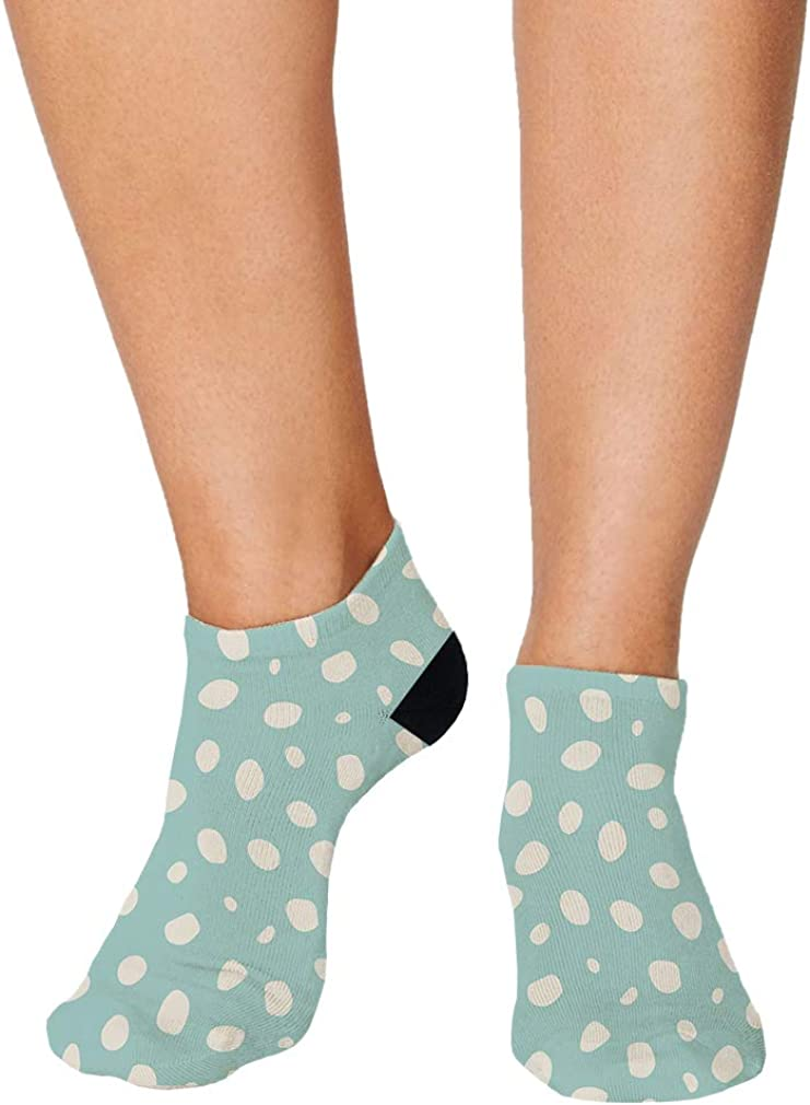 Turquoise And White Pitter Pattern #1 Men-Women Adult Ankle Socks
