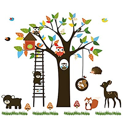 ufengke Forest Animals Wall Stickers Tree Owls Removable Wall Art Decals Wall Decor for Children Bedroom Nursery