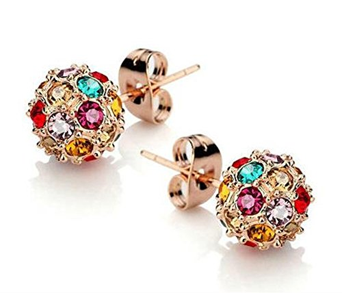 Beautifully Crafted Multicolored Unique Ball Shaped 18k White/rose Gold Plated Swarovski Crystal Zircon Austria Quartz Rhinestone Earrings Pierced Eardrop Stud Bridal Wedding Engagement (Swarovski Pierced Earrings)