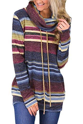 MBQMBSS Womens Sweatshirt Cowl Neck Long Sleeve Striped Pocket Drawstring Pullover Top Sweatshirt (XL, Blue)